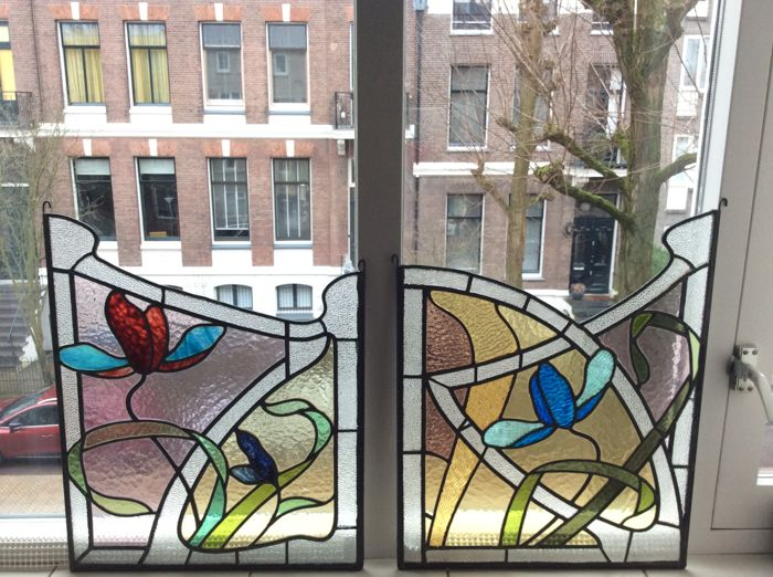 Two Old Motifs Green And Blue Similar To A Flower Stained Glass
