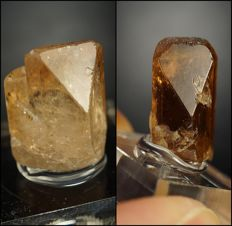 Two Golden Topaz crystals - terminated, great quality with nice gemmy color - 6,19g & 12,82g (2)