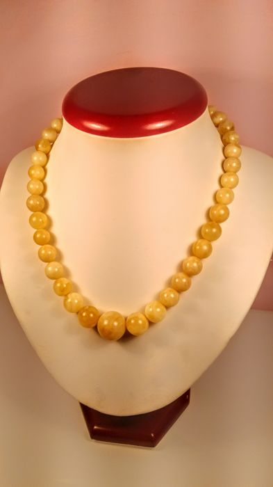 Egg yolk- White colour Baltic Amber necklace, length  44 cm