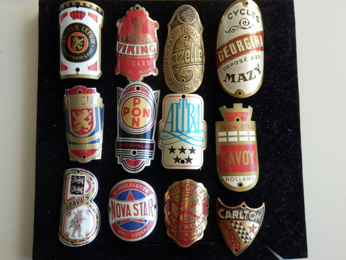 Collection of 12 Nice Bicycle Head Badges, Balhoofdplaatjes. with some Rare oa - Viking en Gazelle en andere