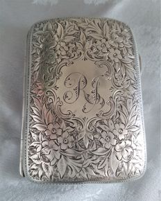 Solid silver cigarette case - Thomas Acott & Co - Birmingham - 1894