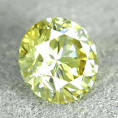 Natural Fancy Vivid Greenish Yellow Diamond - 0.52 ct, EXC/VG/VG