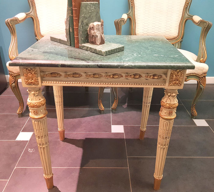 White lacquered and partly gilded console table in Louis XVI style ...