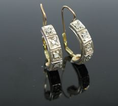 Earrings, rose gold 585 and silver 800 set with 10 diamonds antique-cut 0,30 ct. +++ no reserve price +++