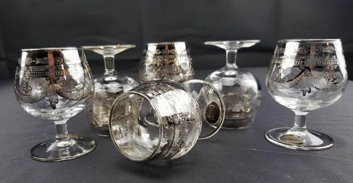 ARC France Rubino - Set of 6 Whisky Glasses made of Crystal with Platinum Decorations