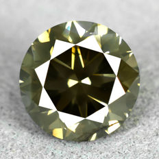 Diamond - 1.52 ct, Natural Fancy Dark Yellowish Grey - VG/EXC/EXC, very low reserve price
