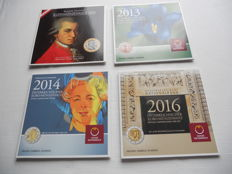 Austria - year sets euro coins 2003, 2013, 2014 and 2016 (4 sets in total)