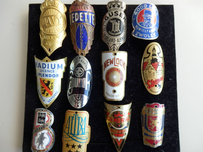 Collection of 12 Nice Bicycle Head Badges with some rare ones including - Vedette and Gusek and others