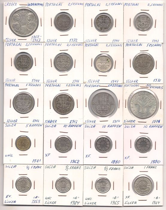 World - Lot of world coins from Albania, Cyprus, Greece, Switzerland, Portugal and Yugoslavia (135 coins) - including silver