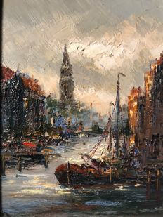 Peter Brouwer (1935-2010) - Haven te Amsterdam
