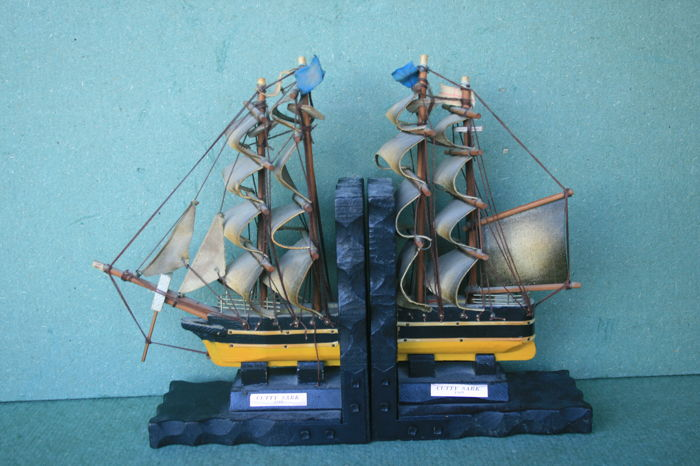Set of bookends with a ship