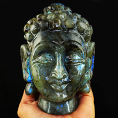 Genuine Blue Flash Labradorite Buddha Head - 128 x 93 x 71 mm - 5595.00 Cts
