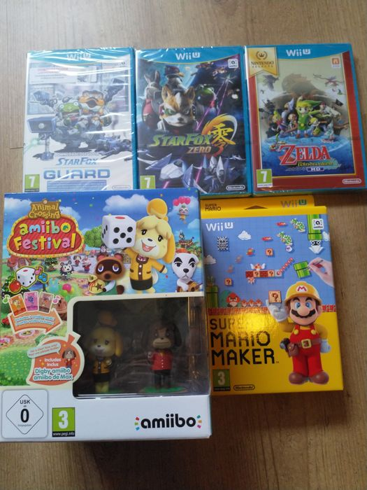 Lot of 5 WII U games incl Super Mario maker, Zelda, Animal Crossing and Star Fox