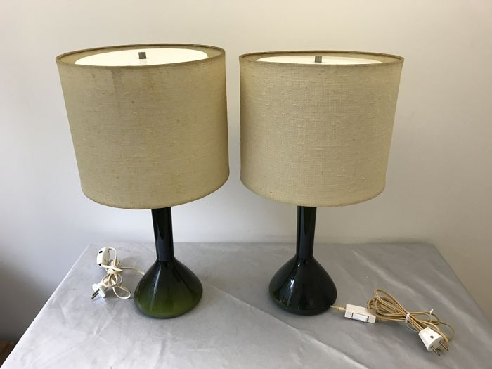 Holmegaard Two Green Glass Table Lamps With Linen Lamp Shades
