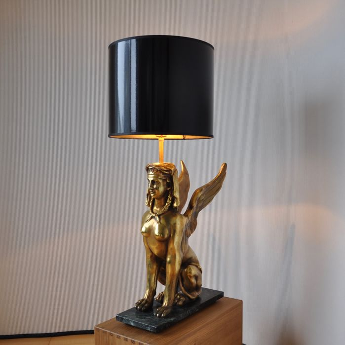 Producer Unknown High Chic French Sphinx Table Lamp With Black