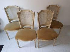 A set of four Louis XVI style grey-white painted chairs, France, circa 1900
