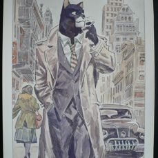 Frisano, Thomas - Original drawing - Blacksad - Tribute to J. Guarnido