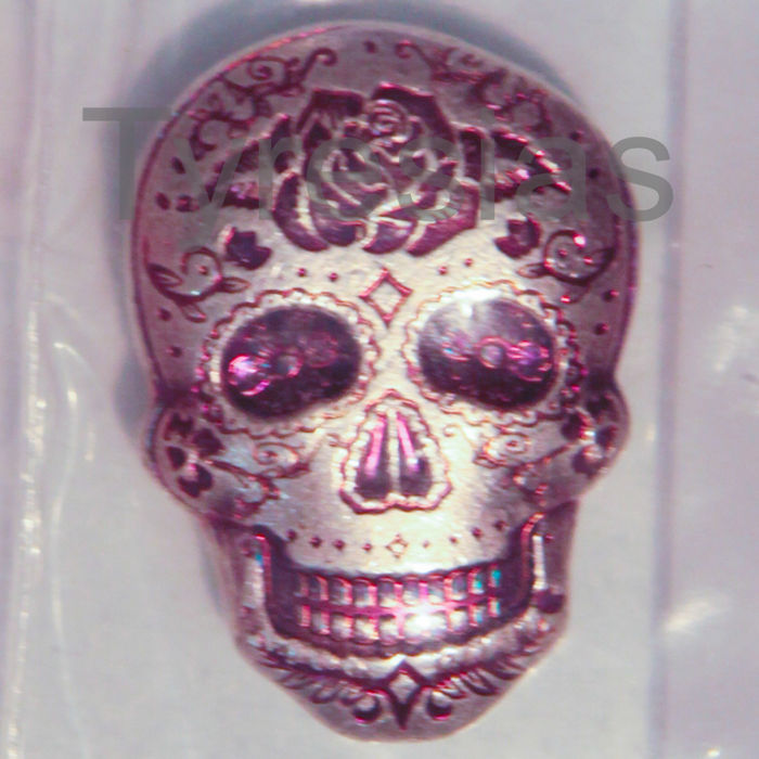 Monarch Day of the Dead Rose Silver Skull