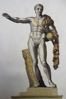 Audenaerd, Robert van 1663 - 1743 - Statue of Pompey the Great, hand coloured - 1704