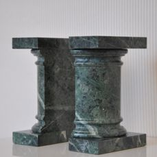 Manufacturer unknown - two heavy green marble Postmodernist bookends