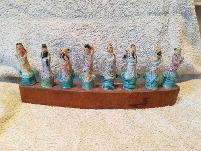 Stoneware ceramic Chinese statuettes of the eight immortals - China - mid-20th