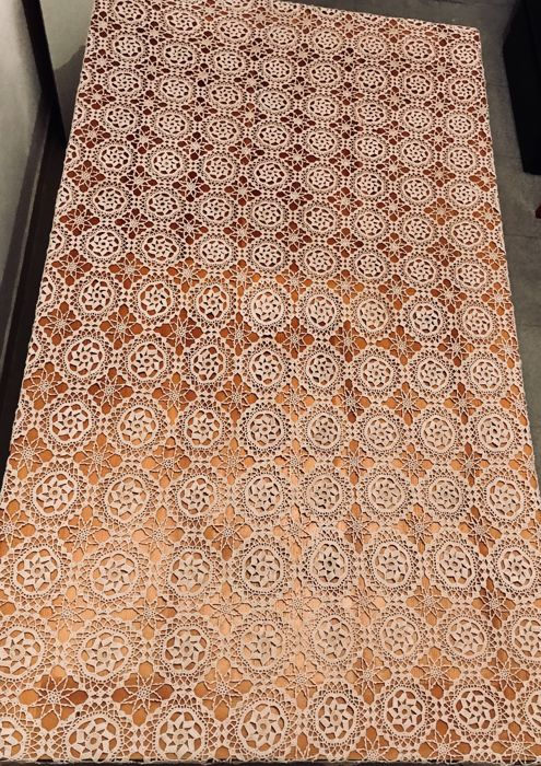 Large antique tablecloth entirely hand made with crochet