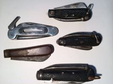 5 Antique navy pocket knives, mostly from GB, uncleaned attic find