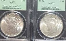 United States - Peace Dollars 1922 in PCGS Slabs (2 coins) - silver
