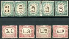 San Marino, 1897/1919 – Postage due, first issue, 9 values – Sass. No. 1/9.