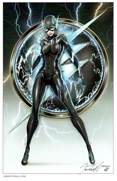 Jamie Tyndall - Lady Flash Black Costume Art Print - Signed 11x17