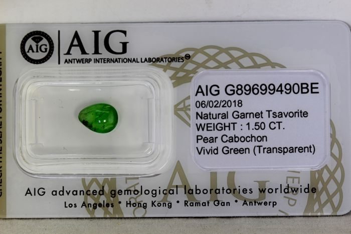 Green Tsavorite - 1.50 ct - Fine Color Quality