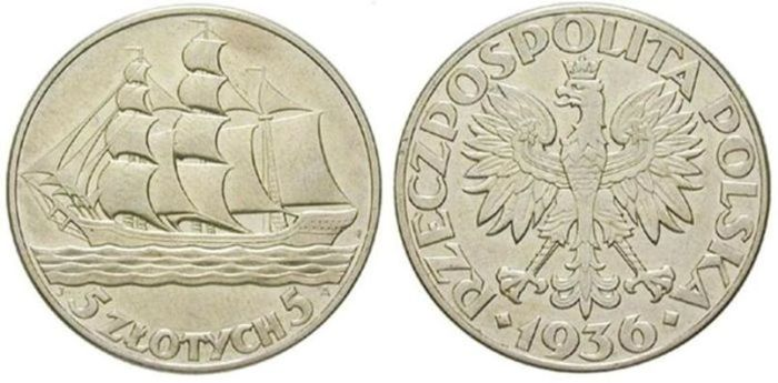 Poland, 2nd Republic 1918-1939 - 5 Zlotych 1936 '15th Anniversary of Gdynia Seaport' - silver
