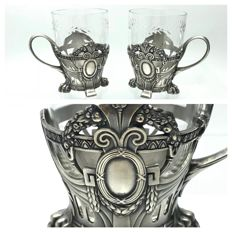 WMF - A pair of holders with original glasses