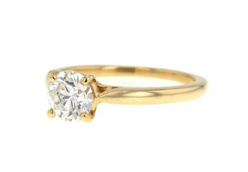 Solitaire ring in 18 kt yellow gold with a diamond for 0.25 ct, size 15