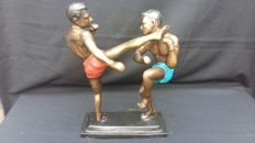 Bronze alloy sculpture of two kick-boxers – 2nd half of the 20th century