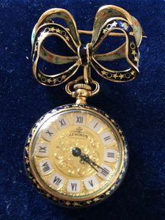 Brooch with pendant watch in gold and enamel - Le Monde - 3 x 7 cm - watch works perfectly