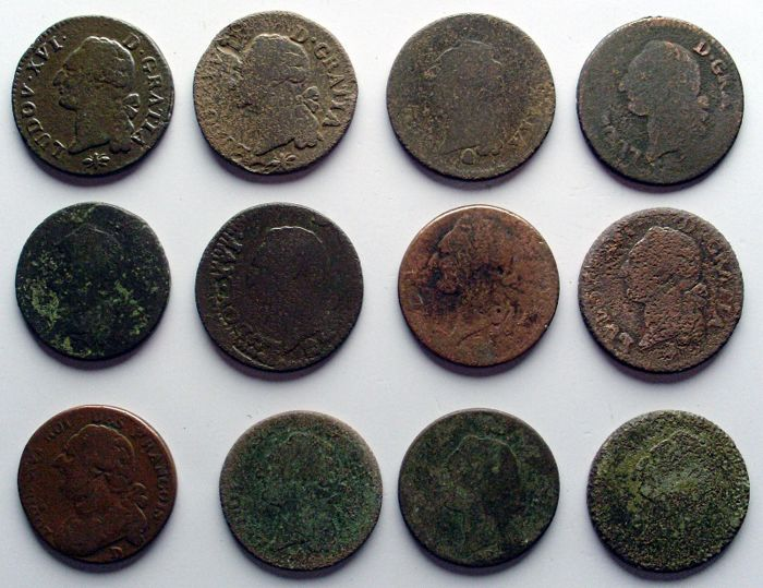 France - Louis XVI (1774/1793) - Sol à l'écu (lot of 12) - bronze/copper