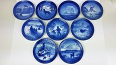Royal Copenhagen Year plates/winter plates, 9 pieces