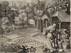 Sadeler Raphael and Cotelle - 2 engravings of St Fiacre, Saint of Gardening