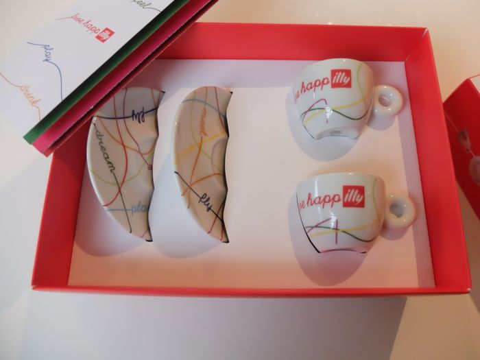 Illy Art collection, 2 espresso cups and 2 saucers, drink, meet, play, feel collection