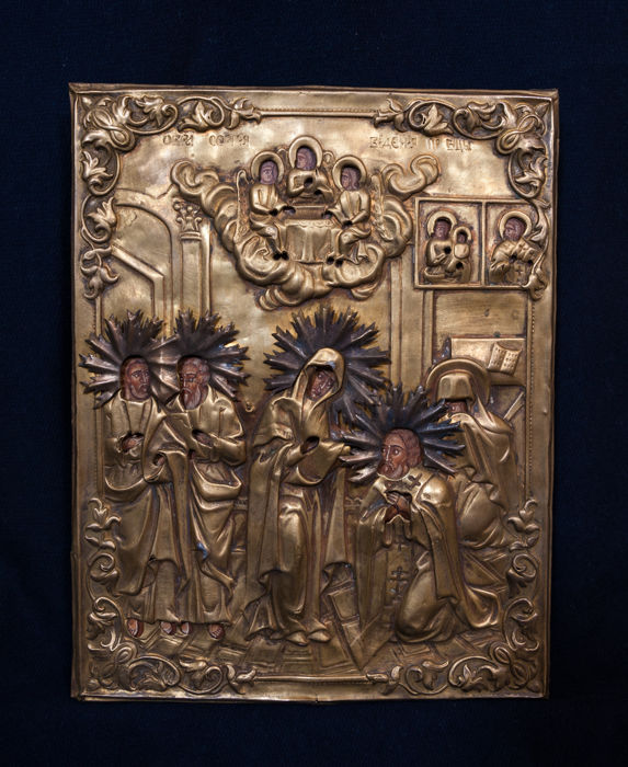 Orthodox icon with silvered Oclad - Russia or Serbia - second half of 19th century