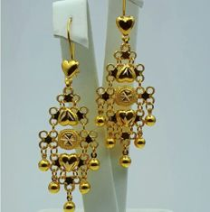 22 Ct Gold Earrings, length:6cm, Total Weight:5.15g