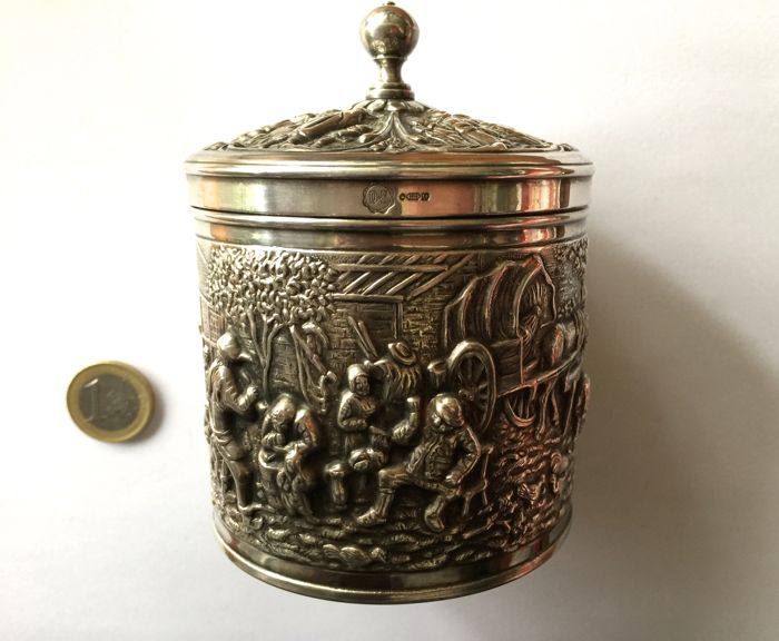 "beautiful, heavy, strong silver-plated container for the table (4 hallmarks) decorated with scenes in the ""Flemish"" style, in 1/2 relief, 1st part of 20th century"