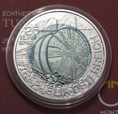 Austria - 25 Euro - 2013 - 'Tunnel Construction' - silver