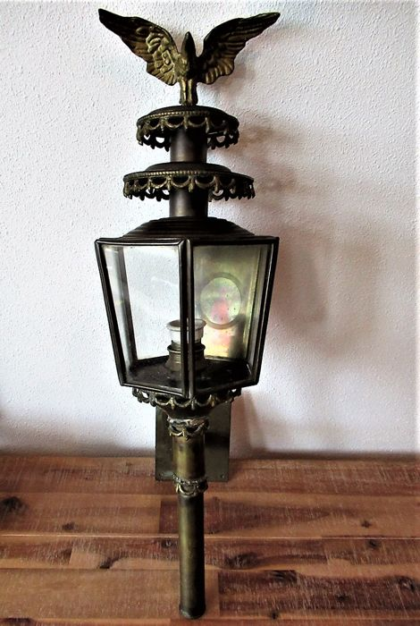 Old Original Heavy German Copper Eagle Coach Lamp 1950/1960
