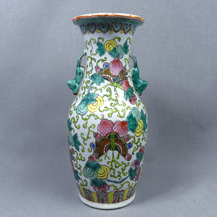 Baluster Vase Made From China Porcelain In Polychrome Decor Of