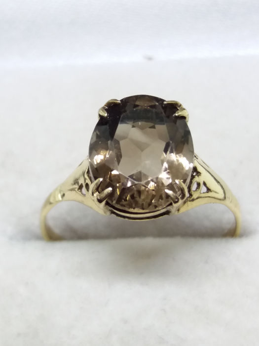 2.74cts Golden Morion Smokey Quartz gold ring