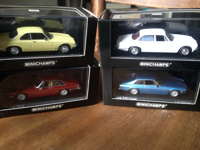 Minichamps - Scale 1/43 - Lot of 4 Jaguar: Jaguar XJ-S - Cranberry, Jaguar XJS coupe - Cobalt blue metallic, Jaguar XJ 12 seris II - Pale primrose & Jaguar XJ12 serie II cream