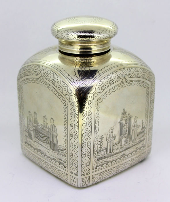 Antique Russian silver tea caddy, By Petr Abrosimov, Moscow 1879