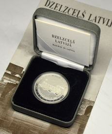 Latvia - 1 Lats 2011 Railway in Latvia - silver with box and booklet